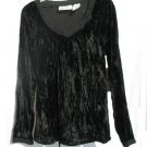 OH MAMMA Maternity Black Crinkle Velour Shirt Top S 4 6 NWT NEW