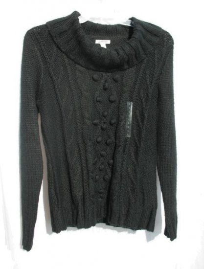 ST JOHNS BAY Womens Black Cowl Cable Knit Sweater L 12 14 NWT NEW