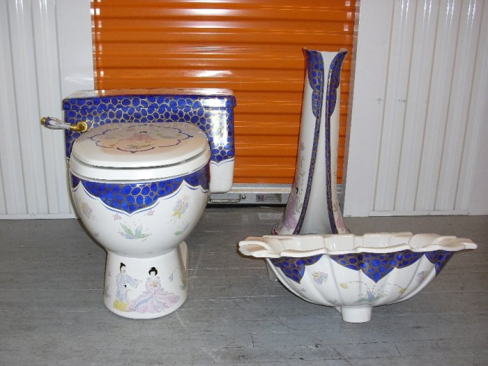 Blue Pedestal Sink : Sherle Wagner Blue Chinoiserie Toilet, Sink Basin and Pedestal (100)