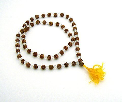 Rudraksha and Crystal Mala 108 Beads