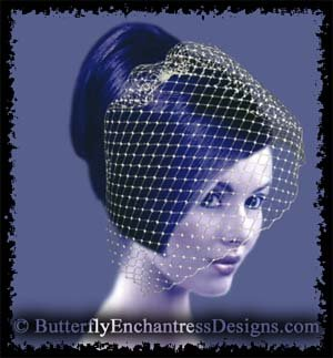 WHITE Bridal Blusher Birdcage Blusher Veil Hair Comb Wedding