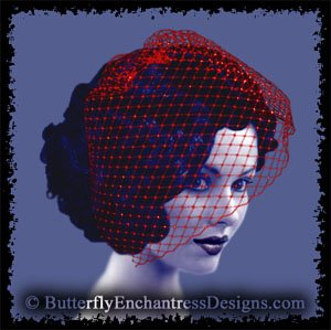 RED Bridal Blusher Birdcage Blusher Veil Hair Comb Wedding