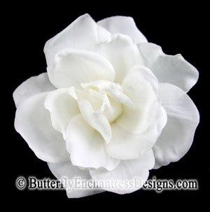 White Sandrine Gardenia Mini Bridal Hair Flower Clip Wedding