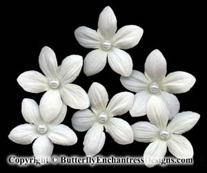 6 Pearl Silk Stephanotis Flower Bridal Hair Pins Wedding
