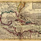 West Indies Caribbean map 1736 by Henry Moll