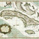 Cuba Cuban Caribbean map 1763 by Henry Poppler
