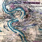 Vicksburg Battle Rebel Batteries Mississippi 1863 Civil War map by Sneden