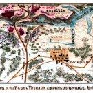 War Rebel Position at Howard's Bridge 4 April 1862 Civil War map by Sneden