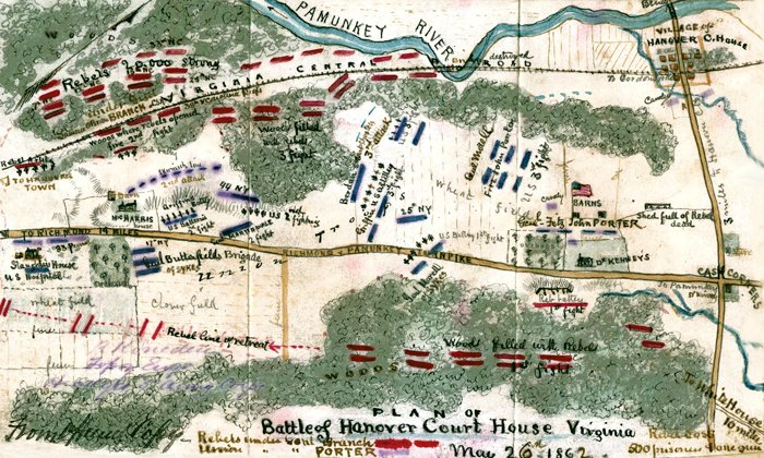 Battle Of Hanover Court House Virginia 1862 Civil War Map