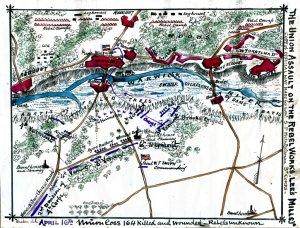 Union Assault on Rebel Works Lee's Mill Virginia Civil War map by Sneden