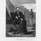 General Ulysses S. Grant full-length portrait seated in camp Civil War art drawing print