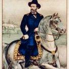 Lieutenant General Ulysses S. Grant portrait horseback Civil War art print by Currier & Ives