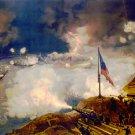 Naval Battle of Port Hudson Louisiana 1863 Civil War art print by Louis Prang