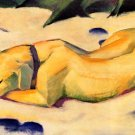 Dog Lying in the Snow canvas art print by Franz Marc