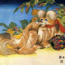 Tschin the Pet Dog Japanese canvas art print by Katsushika Hokusai