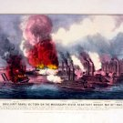 Brilliant Naval Victory Mississippi canvas art print by Currier & Ives