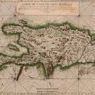 Hispaniola Santo Domingo Dominican Republic Haiti map 1764 by Bellin