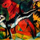 Three Cats cat feline painting canvas art print by Franz Marc