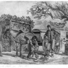 A sketch of two blacksmiths working at a Traveling Forge during the Civil War art print