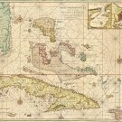 Cuba Bahamas Florida Cayman Islands 1728 map by Gerard van Keulen