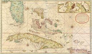 Cuba Bahamas Florida Cayman Islands 1728 map by Gerard van Keulen