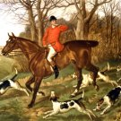 Gone Away Man on Horseback with Dogs Hunting equestrian canvas art print by Thomas H Crawford