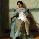 A Portrait of Léonie Bouguereau 1850 girl child canvas art print by William Adolphe Bouguereau