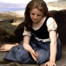 Le crabe 1869 girl child canvas art print by William Adolphe Bouguereau