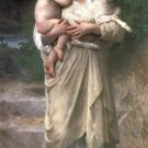 Les agneaux 1897 woman child canvas art print by William Adolphe Bouguereau