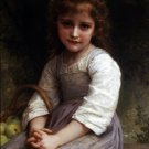 Les pommes 1897 girl child canvas art print by William Adolphe Bouguereau