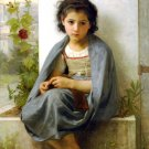 La Tricoteuse 1882 The Little Knitter canvas art print by William Adolphe Bouguereau