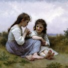 Idylle Enfantine 1900 A Childhood Idyll girl canvas art print by William Adolphe Bouguereau