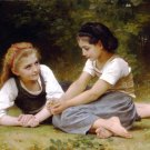 Les Noisettes 1882 Hazelnuts girl canvas art print by William Adolphe Bouguereau