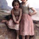 Sur la Greve 1896 On the Rocky Beach girl canvas art print by William Adolphe Bouguereau