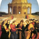Marriage of Virgin religious Christian canvas art print by Raphael