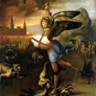 Saint Michael Dragon religious Christian canvas art print by Raphael