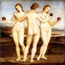 Three Graces 1505 women woman canvas art print by Raphael