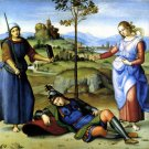 Vision of a Knight 1504 woman landscape canvas art print by Raphael