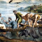 Miraculous Draught of Fishes Christian canvas art print by Raphael
