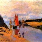 Port of Trouville seascape sailboats fishers river landscape canvas art print by Claude Monet