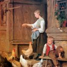 Girl Feeding the Chickens 1865 genre canvas art print by Albert S. Anker