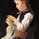 Knitting Girl 1884 large canvas art print by Albert S. Anker