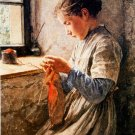 Girl in front a  window canvas art print by Albert S. Anker