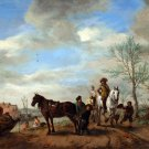 A Man and a Woman on Horseback ca 1654 landscape canvas art print by Philips Wouwermans