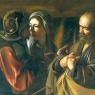 The Denial of Saint Peter Bible Christian canvas art print Caravaggio