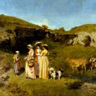 Young Ladies of the Village 1852 women canvas art print by Gustave Courbet