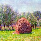 Heap of Hay in the Field landscape canvas art print by Claude Monet