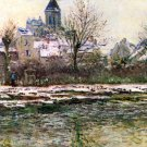 Church of Vetheuil in the Snow cityscape canvas art print by Claude Monet