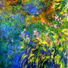Iris at the Sea-Rose Pond Garden II water landscape flower canvas art print by Claude Monet