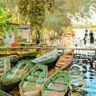 Les Bain de la Grenouillere water landscape canvas art print by Claude Monet